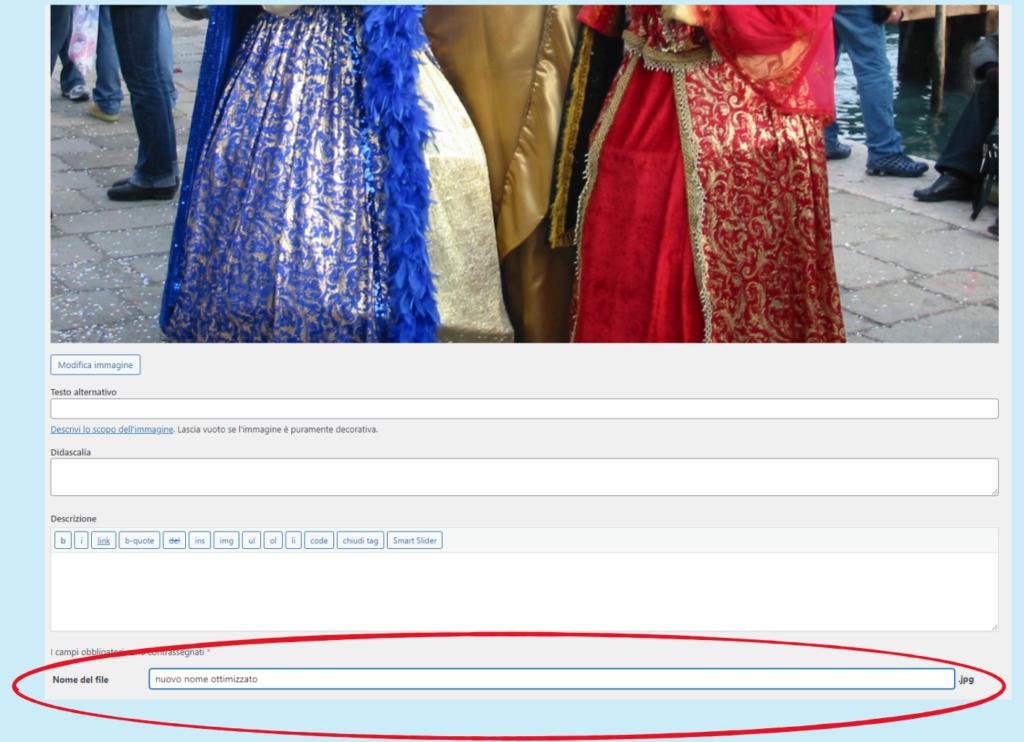 """Il campo """"Nome del file"""" aggiunto da Phoenix Media Rename alla finestra di gestione dei file multimediali"""